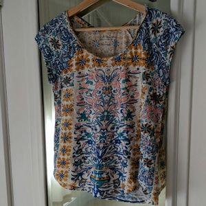 Lucky Brand Print Cap Sleeve Tee Shirt
